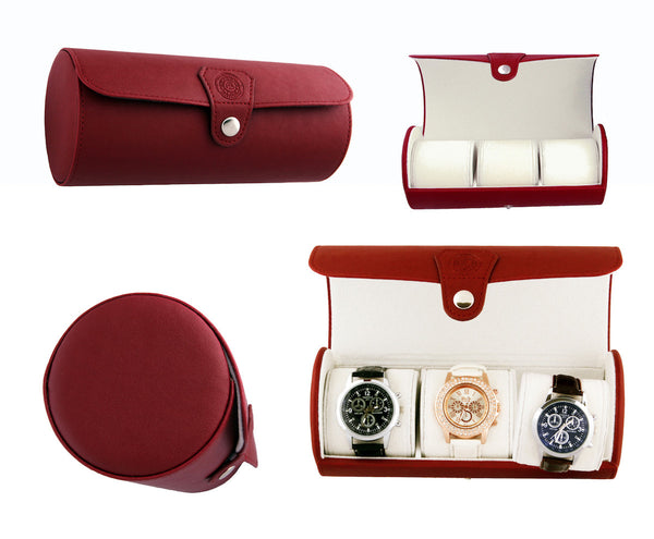 Fiesta Red Vegan Leather Travel Watch Case