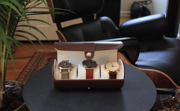"Limited Edition ""Chocolate"" Color - Vegan Leather Travel Watch Case"