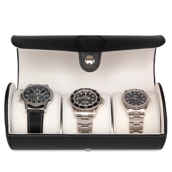Classic Black Vegan Leather Travel Watch Case