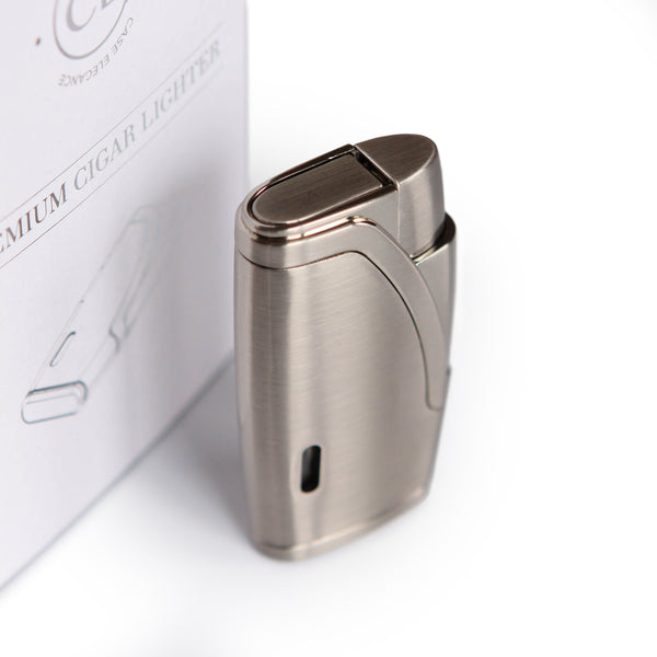 Brushed Stainless Steel Finish with Double Torch Lighter