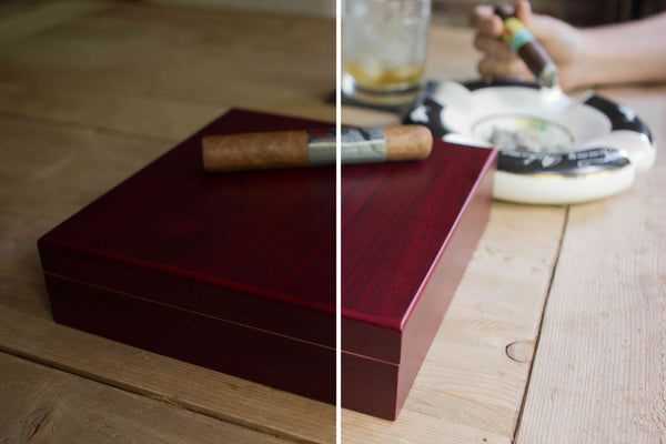 Cherry Finish Humidor w/Magnetic Closure - 100% Spanish Cedar Interior and Coaming