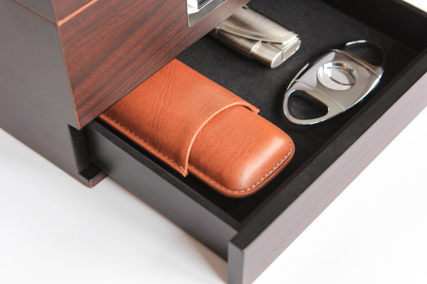 Two-Cigar Travel Case in Chestnut Brown