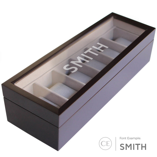 Solid Espresso Wood Watch Box - 6 Slot