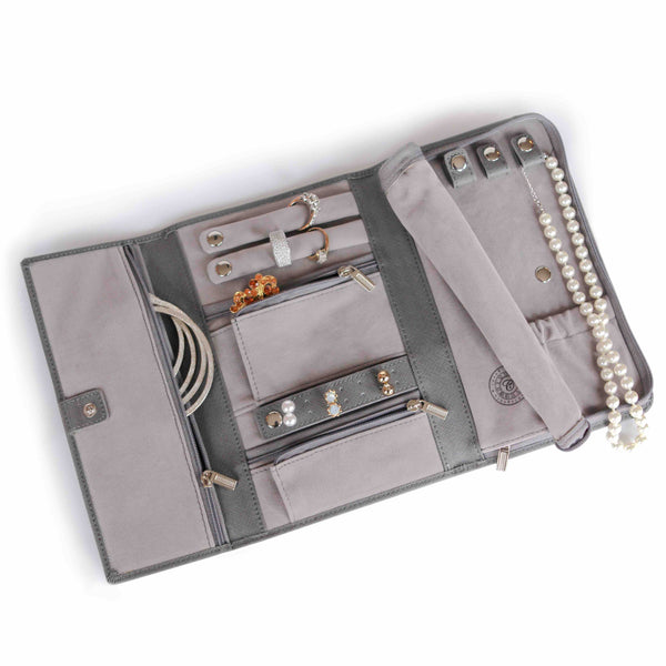 Saffiano Leather Travel Jewelry Wallet - Grey