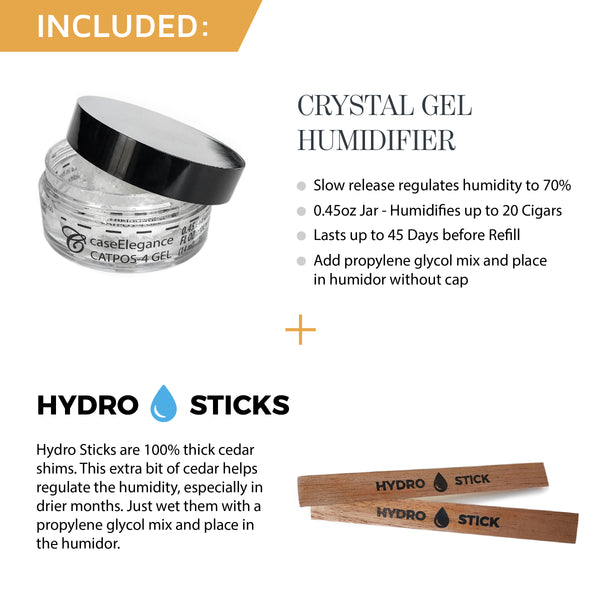 Humidor Hydro Sticks + Crystal Gel Slow Release Humidity Solution