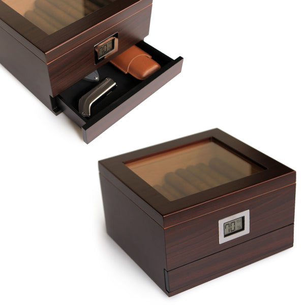 Glass Top Cedar Humidor with Front Digital Hygrometer (Holds 25-50)