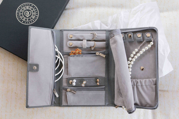 Genuine Saffiano Leather Travel Jewelry Case - Grey