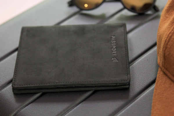 Bucksaw Passport Wallet Holder - Black Leather