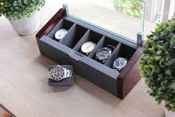 Premium Angled Glass Lid 5-Slot Cherry and Herringbone Watch Box