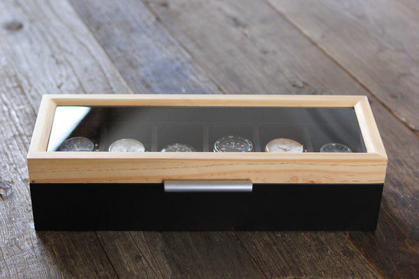 Pine Two-Toned Watch Box - 6 Slot