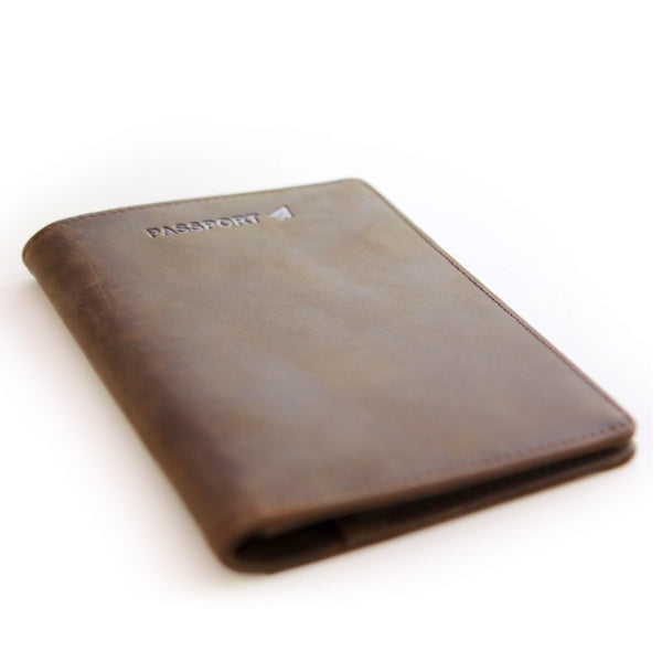 Premium Brown Crazy Horse Leather Passport Wallet Holder