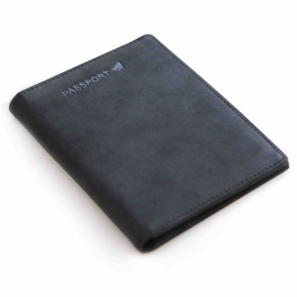 Premium Crazy Horse Leather Passport Wallet Holder - Black