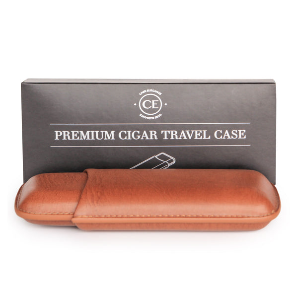 Two Cigar Travel Case in Chestnut Brown