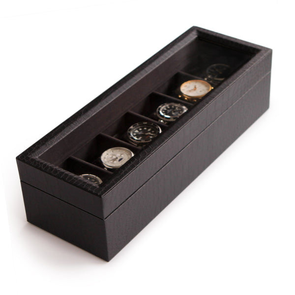 Crocodile Finish and Real Glass Watch Box - Black