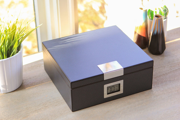 Carbon Fiber Cedar Humidor with Front Digital Hygrometer (Holds 25-50)