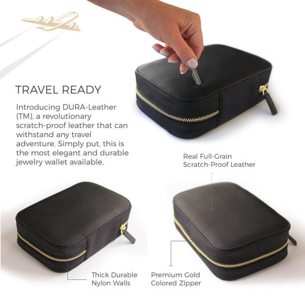 Large Travel Jewelry Organizer with Full-Grain Scratch-Proof Leather