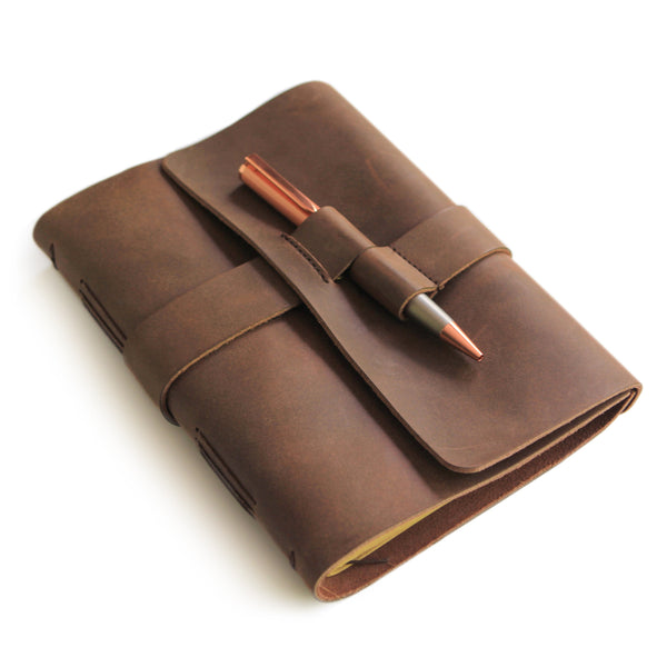 Leather Journal with Premium Rose Gold Pen