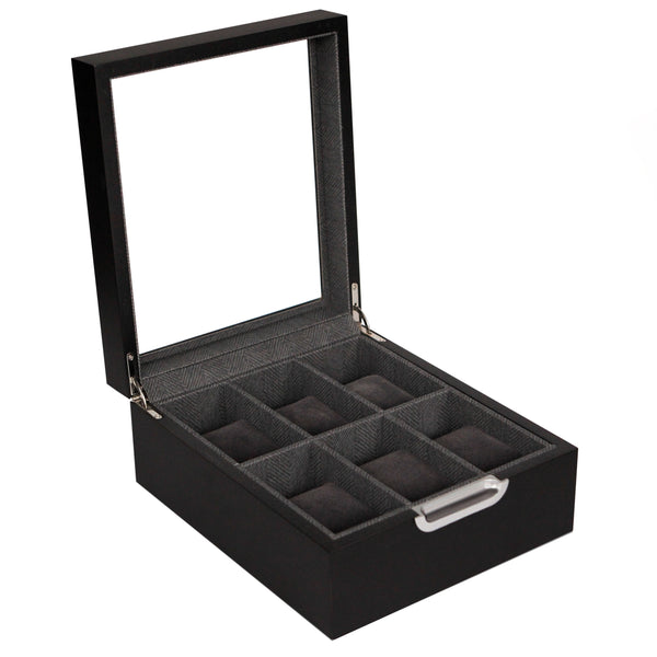 Modern 2x3 6 slot watch box with aluminum thumbhole handle