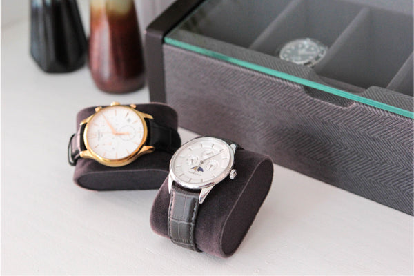 Premium Angled Glass Top 5-Slot Espresso and Herringbone Watch Box