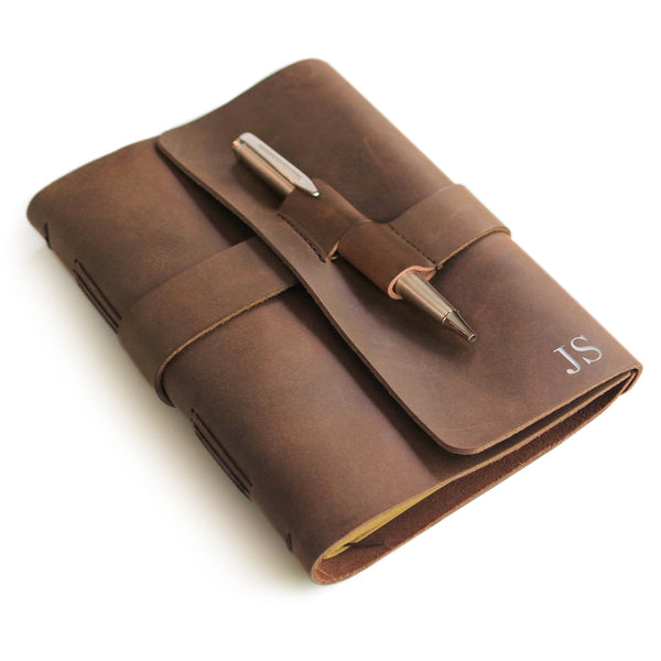 Leather Journal with Premium Silver Pen