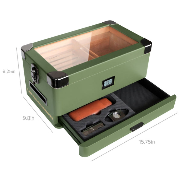 Military Glass Top Humidor