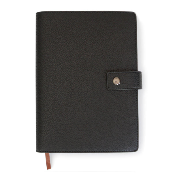 Black Full Grain Leather Refillable Journal Cover with A5 Lined Notebook by Bucksaw