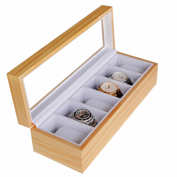 Solid Light Wood Watch Box Organizer with Glass Display Top
