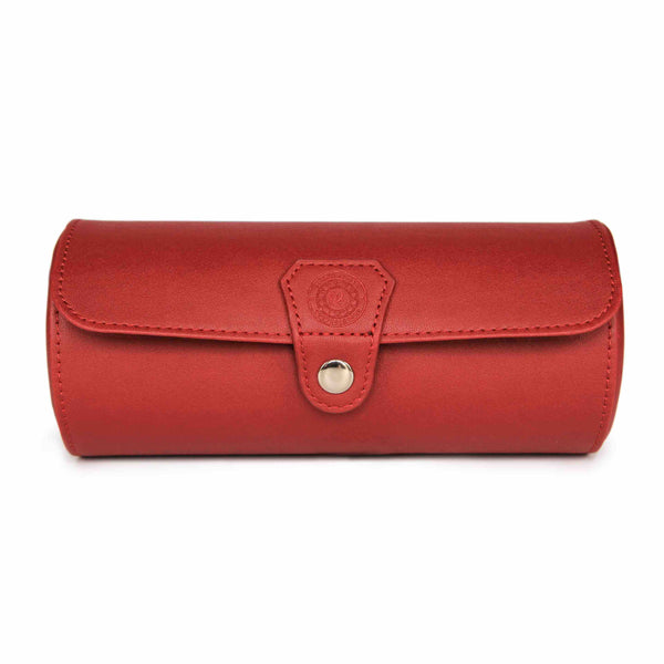 Fiesta Red Vegan Leather Watch Roll Organizer