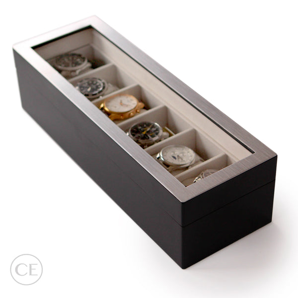 Modern Wooden Watch Box with Stainless Steel Top - Dark Grey