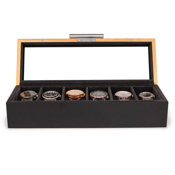 Solid Wood 6 slot watch box - Two Toned Pine & Black with Aluminum Handle