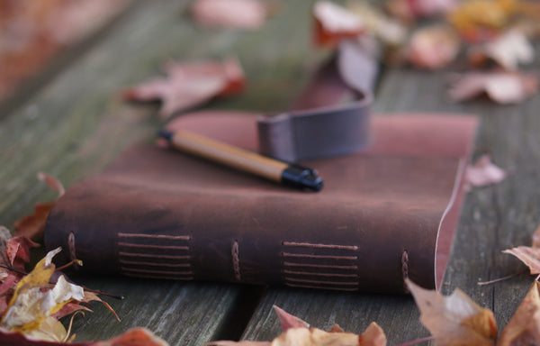 Handmade Leather Journal Travel Diary with Bamboo Pen