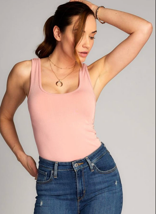C'est Moi Bamboo Double Scoop Tank - Blush