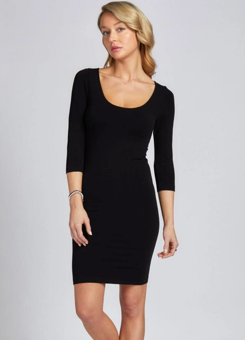 C'est Moi Bamboo 3/4 Sleeve Dress - Black