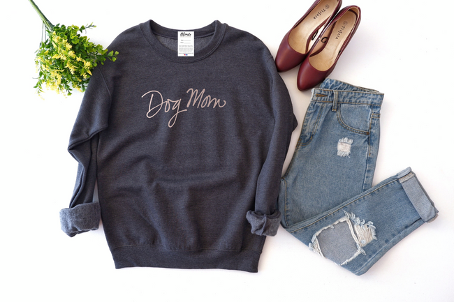 Dog Mom Cozy Crew Neck Sweater - Charcoal