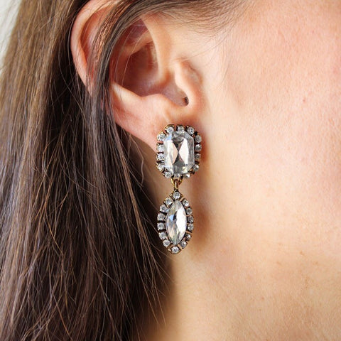 VINTAGE CRYSTAL STATEMENT EARRINGS