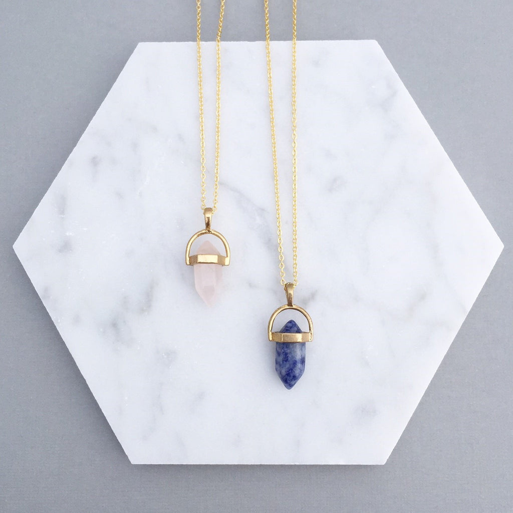 LAPIS & ROSE QUARTZ POINT NECKLACE