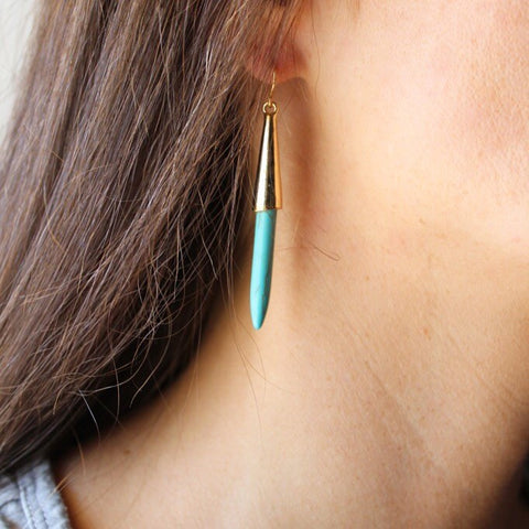 TURQUOISE SPIKED EARRINGS
