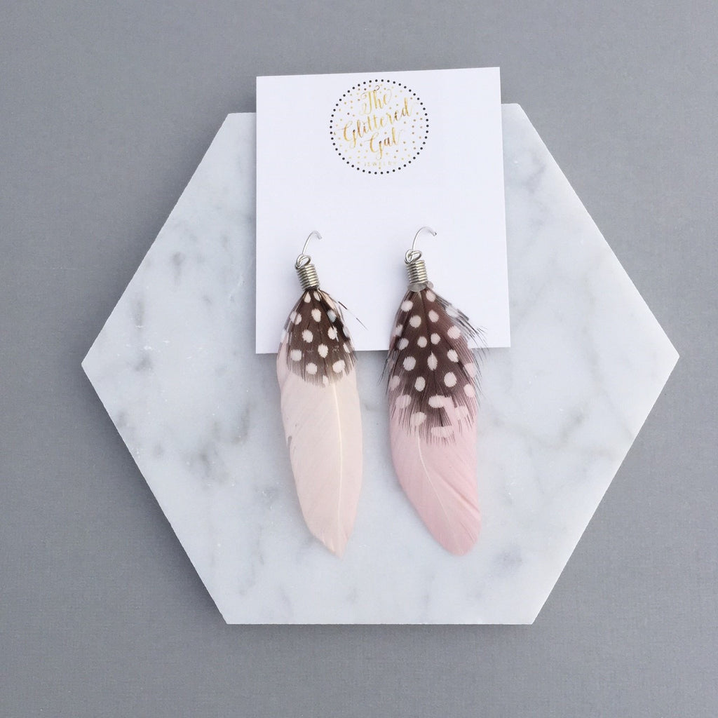 PINK BOHO FEATHER EARRINGS