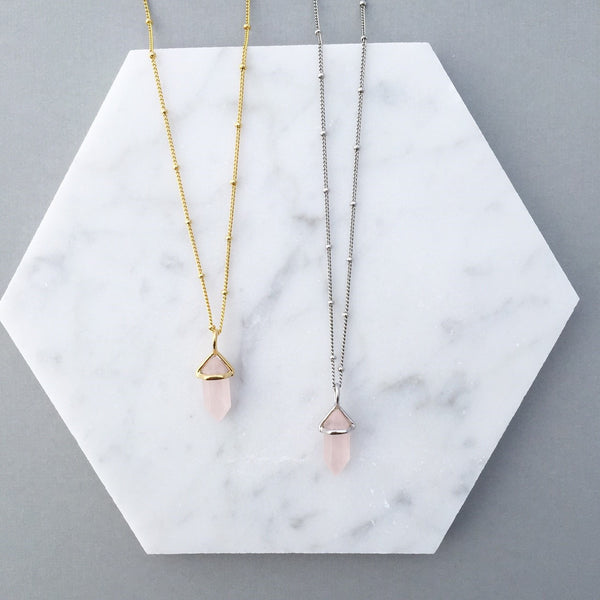 TINY ROSE QUARTZ NECKLACE