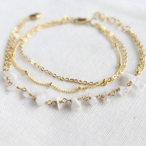 MOONSTONE LAYERING BRACELET SET