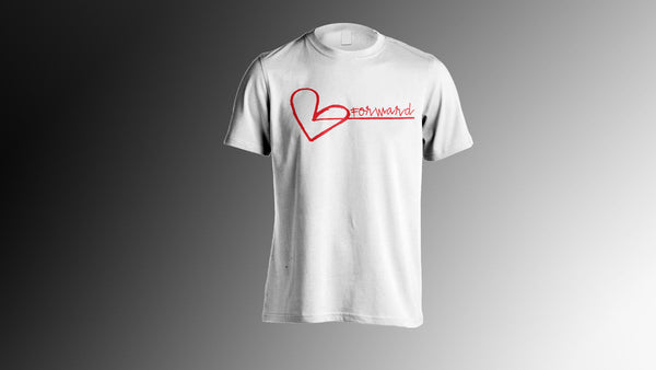 $25.00 WHITE LOVE FORWARD  BLACK  OR RED HEART FORWARD LOGO GRAPHIC T SHIRT SMALL MEDIUM LARGE XL XXL XXXL