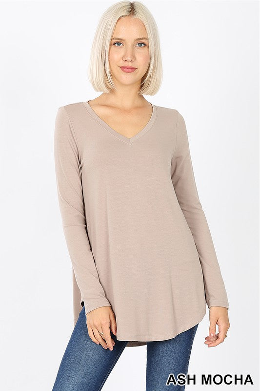Long Sleeve V-Neck Top Taupe