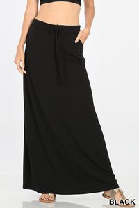 Black Jersey Maxi Skirt with Pockets