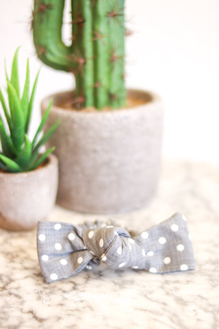 Bow Scrunchie Grey Polka Dot
