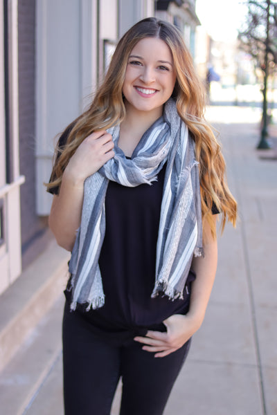 Stripe Frayed Edge Scarf