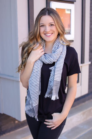 Charcoal Woven Frayed Edge Scarf