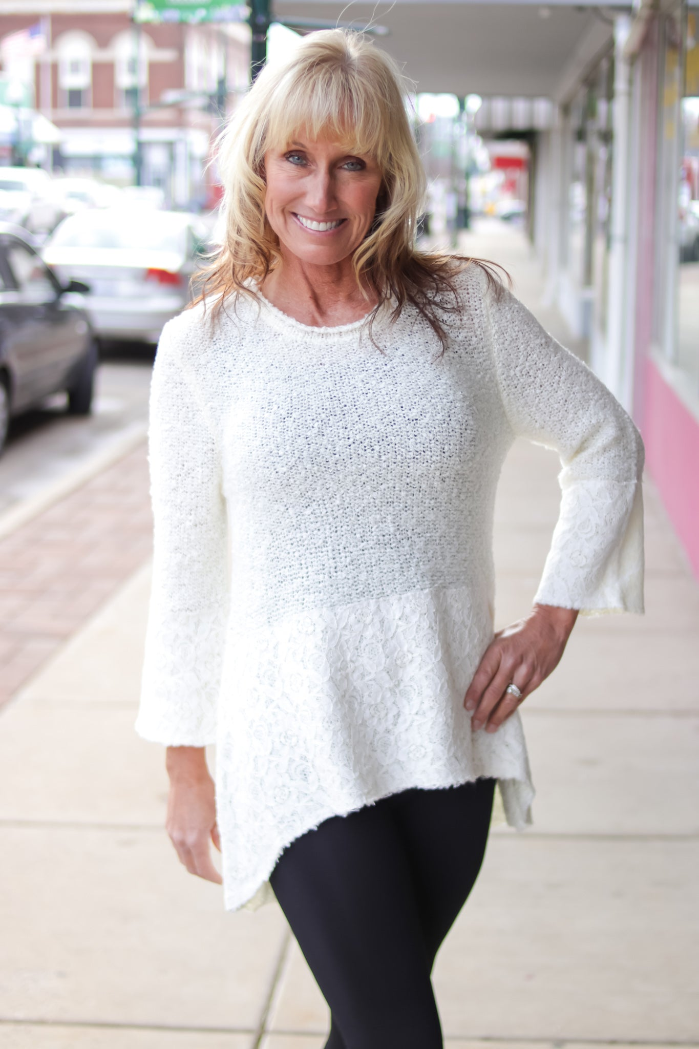 Ivory Knit Color Block Top