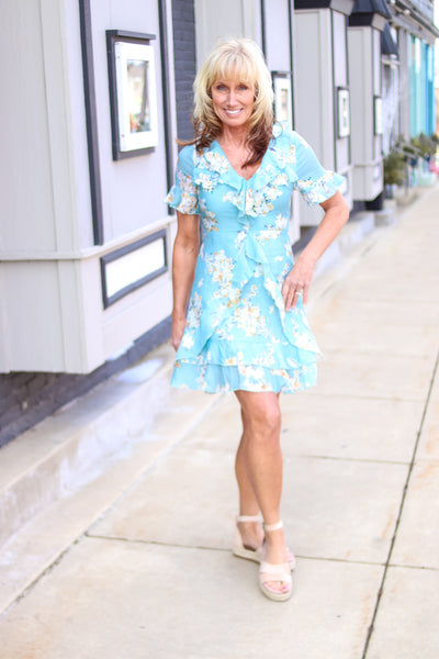 Sage Floral Ruffle Dress