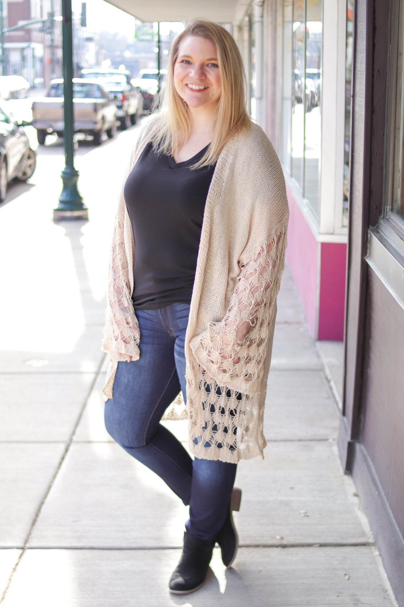 Open Knit Ivory Cardigan