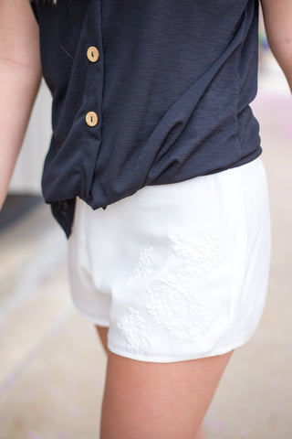 White Lace Embroidered Shorts